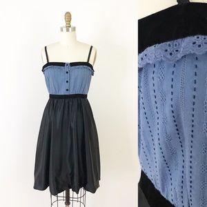 BCBGMaxAzria Blue & Black Silk Eyelet Dress M836